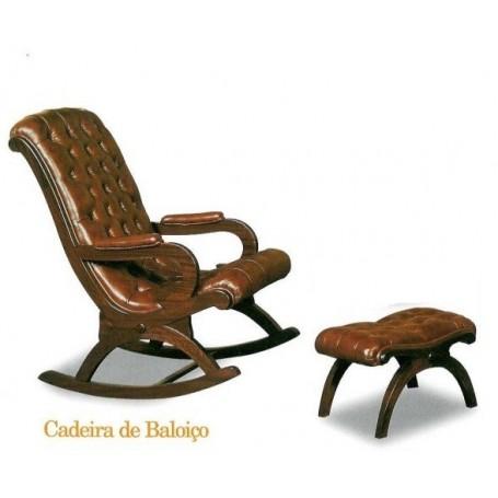 Cadeira Baloiço Capitoné com banco em Pele castanha ref.166