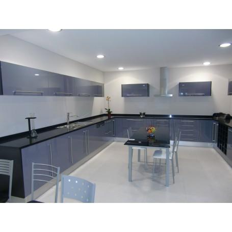 Cozinha Melamina Cinzento e Preto