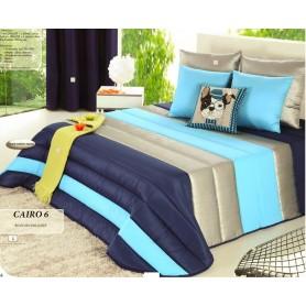 Edredon Solteiro Cairo 6 Azul 200*250 com 1 almofada